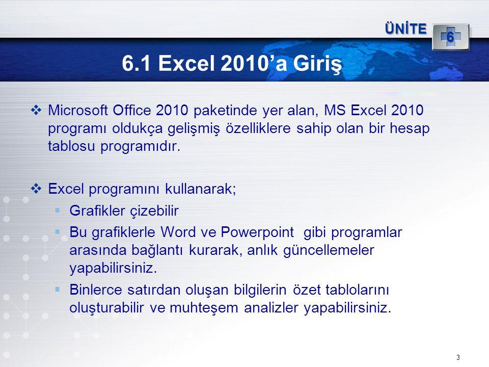 ÜNİTE 6. 6.1 Excel 2010'a Giriş.