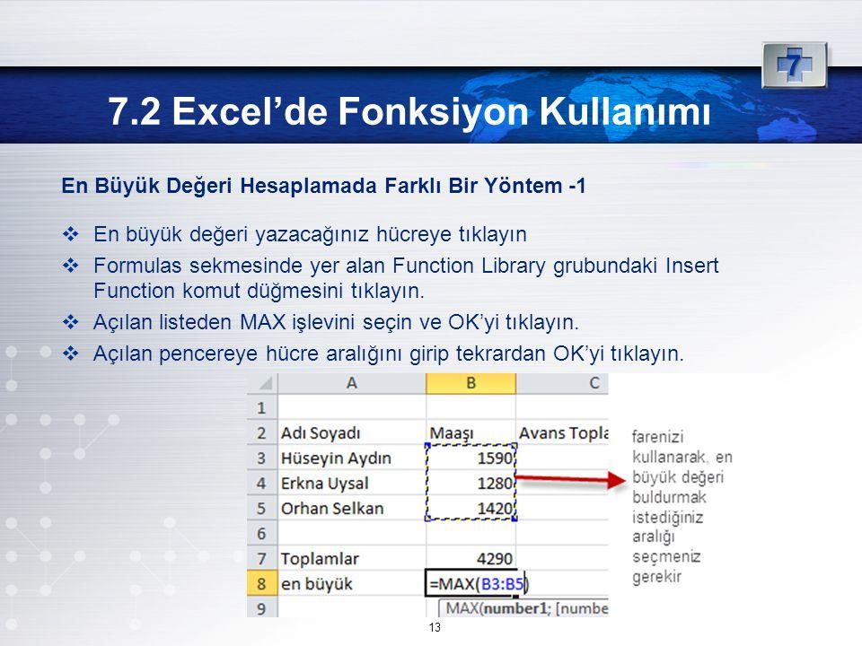 7.2 Excel'de Fonksiyon Kullanımı