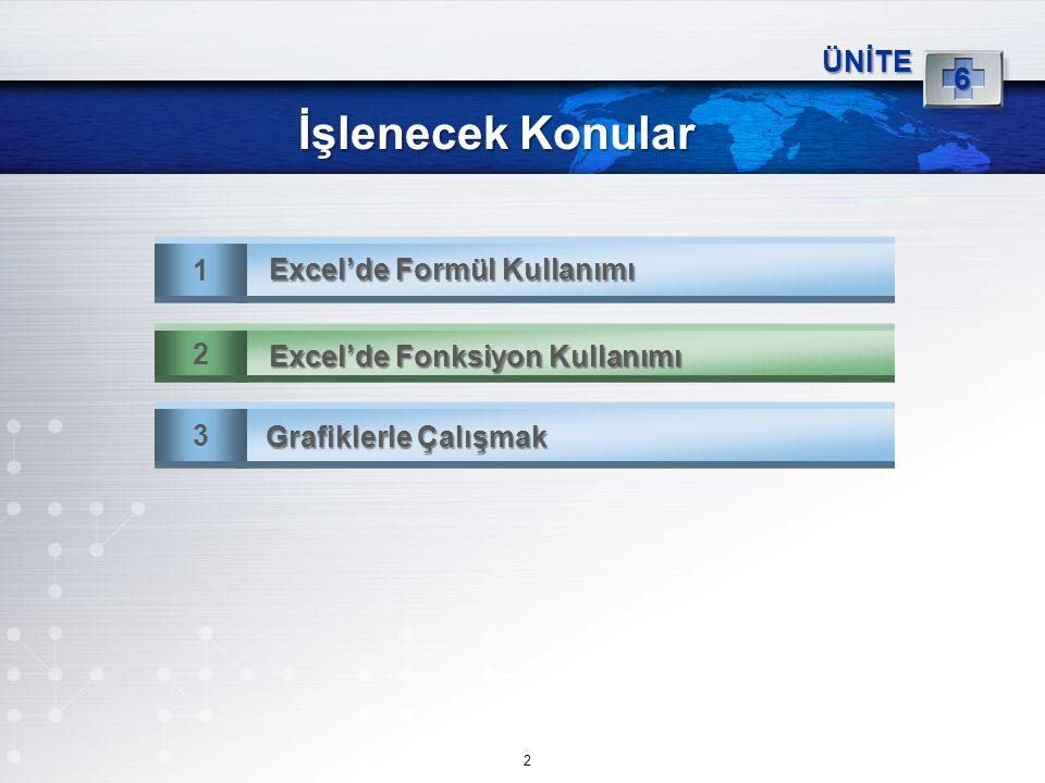 İşlenecek Konular 6 ÜNİTE 1 Excel'de Formül Kullanımı 2