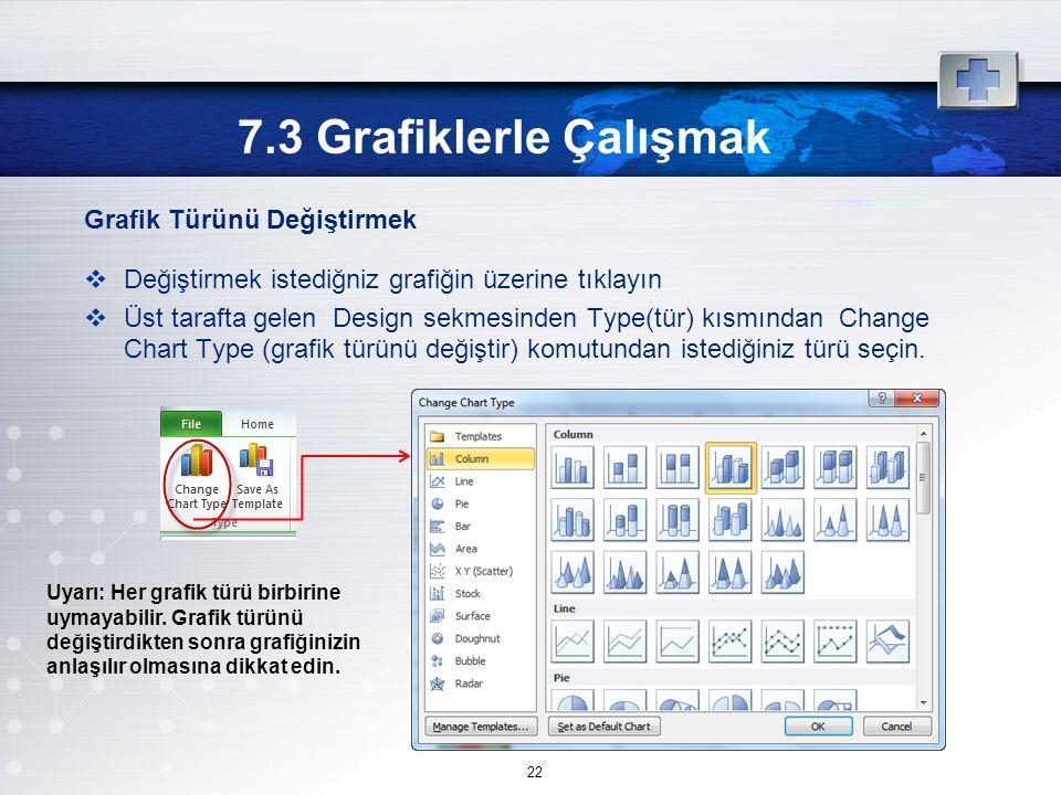 7.3 Grafiklerle Çalışmak Grafik Türünü Değiştirmek