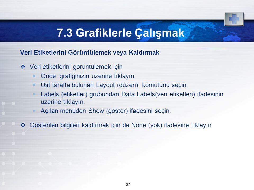 7.3 Grafiklerle Çalışmak Veri Etiketlerini Görüntülemek veya Kaldırmak