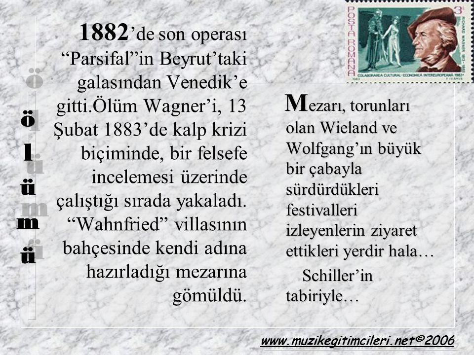 1882'de son operası Parsifal in Beyrut'taki galasından Venedik'e gitti.Ölüm Wagner'i, 13 Şubat 1883'de kalp krizi biçiminde, bir felsefe incelemesi üzerinde çalıştığı sırada yakaladı. Wahnfried villasının bahçesinde kendi adına hazırladığı mezarına gömüldü.