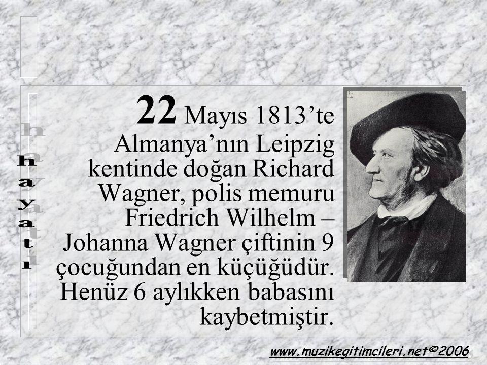 22 Mayıs 1813'te Almanya'nın Leipzig kentinde doğan Richard Wagner, polis memuru Friedrich Wilhelm – Johanna Wagner çiftinin 9 çocuğundan en küçüğüdür. Henüz 6 aylıkken babasını kaybetmiştir.