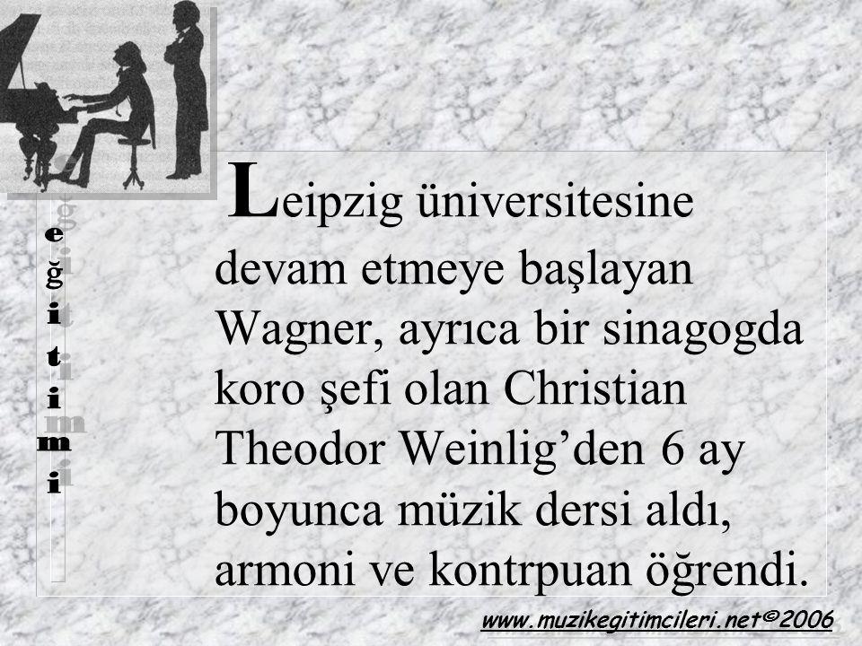 Leipzig üniversitesine devam etmeye başlayan Wagner, ayrıca bir sinagogda koro şefi olan Christian Theodor Weinlig'den 6 ay boyunca müzik dersi aldı, armoni ve kontrpuan öğrendi.