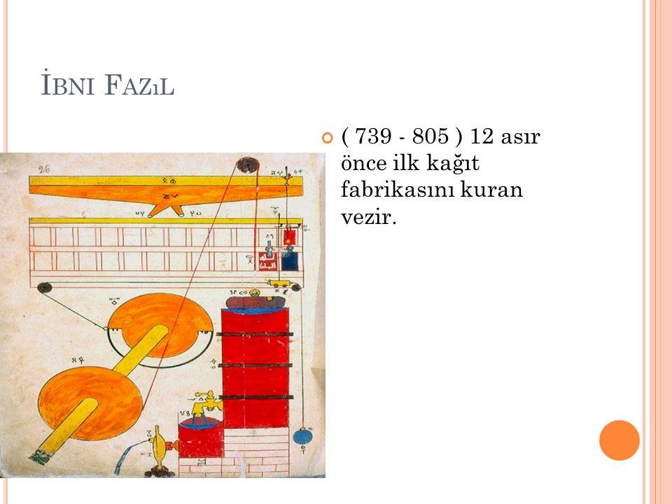 İbni Fazıl ( 739 - 805 ) 12 asır önce ilk kağıt fabrikasını kuran vezir.