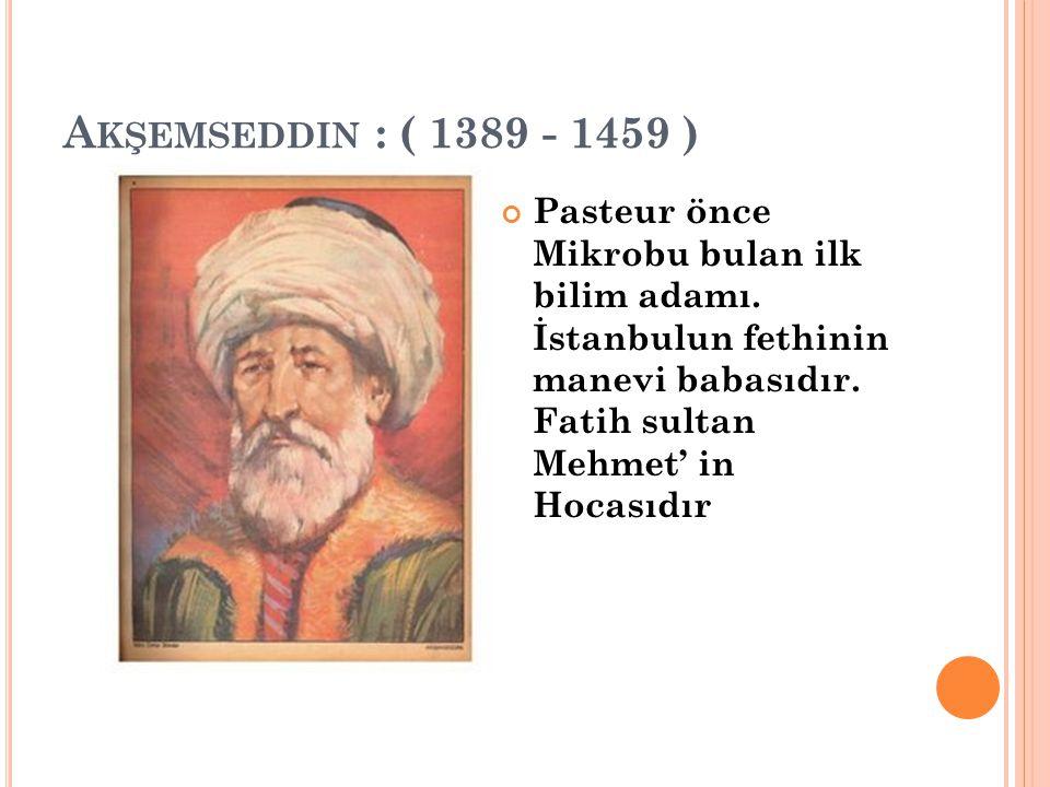 Akşemseddin : ( 1389 - 1459 )