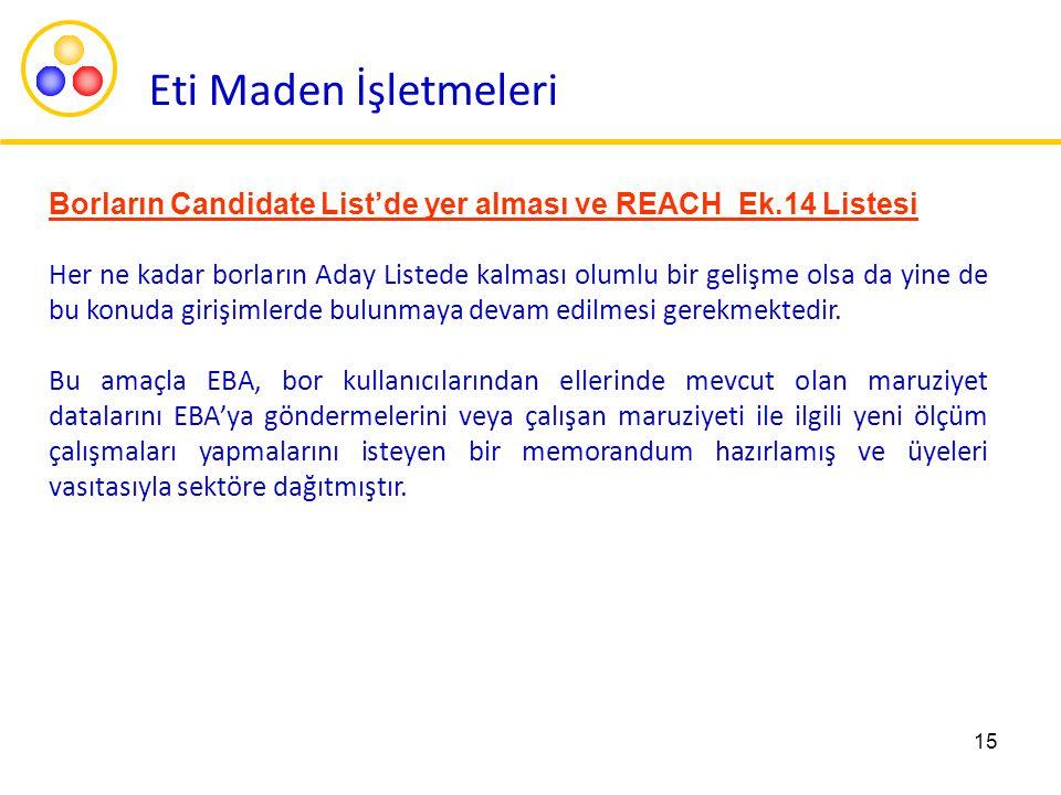 Eti Maden İşletmeleri Borların Candidate List'de yer alması ve REACH Ek.14 Listesi.