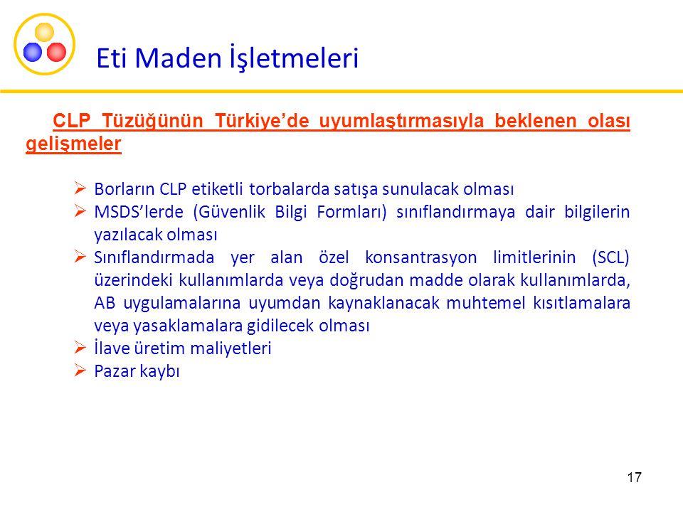Eti Maden İşletmeleri CLP Tüzüğünün Türkiye'de uyumlaştırmasıyla beklenen olası gelişmeler. Borların CLP etiketli torbalarda satışa sunulacak olması.