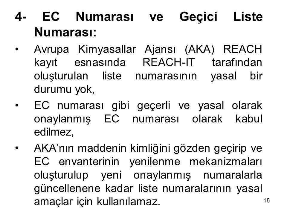 4- EC Numarası ve Geçici Liste Numarası: