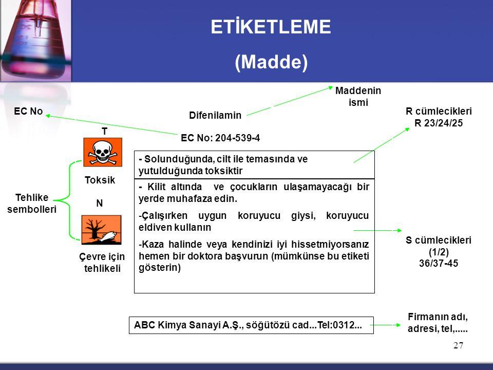 ETİKETLEME (Madde) Maddenin ismi EC No R cümlecikleri R 23/24/25