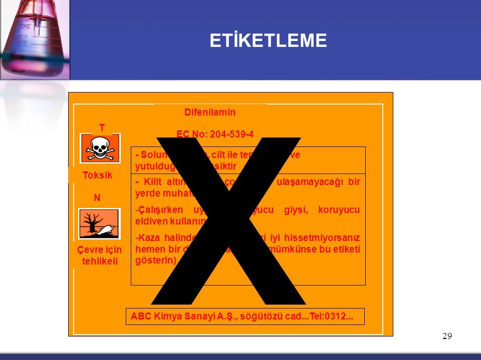 X ETİKETLEME Difenilamin T EC No: 204-539-4