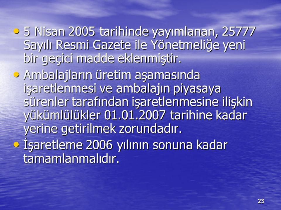 5 Nisan 2005 tarihinde yayımlanan, 25777 Sayılı Resmi Gazete ile Yönetmeliğe yeni bir geçici madde eklenmiştir.