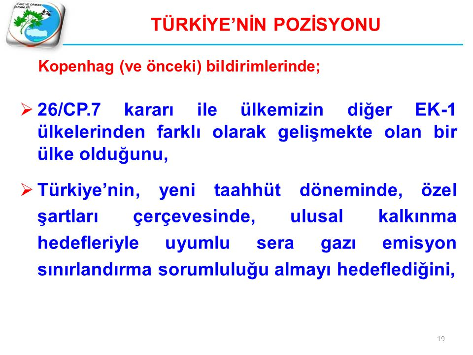 TÜRKİYE'NİN POZİSYONU