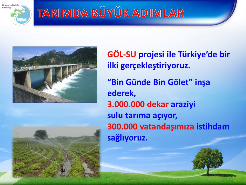 TARIMDA BÜYÜK ADIMLAR GÖL-SU projesi ile Türkiye'de bir ilki gerçekleştiriyoruz.