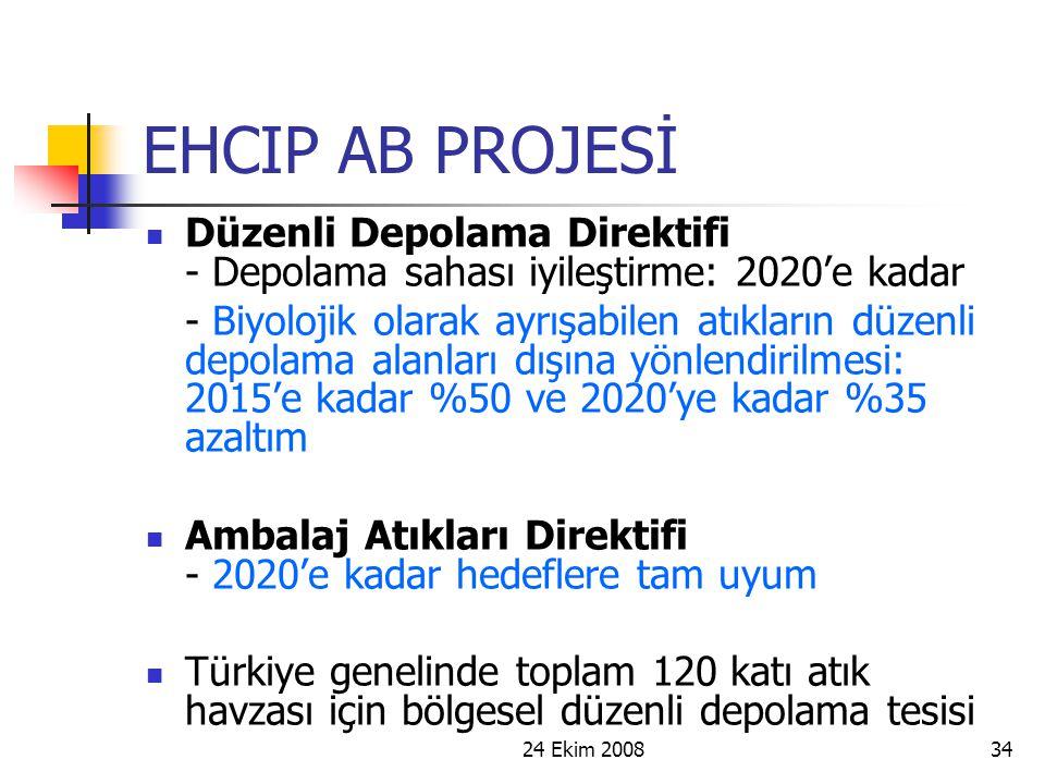 EHCIP AB PROJESİ Düzenli Depolama Direktifi - Depolama sahası iyileştirme: 2020'e kadar.