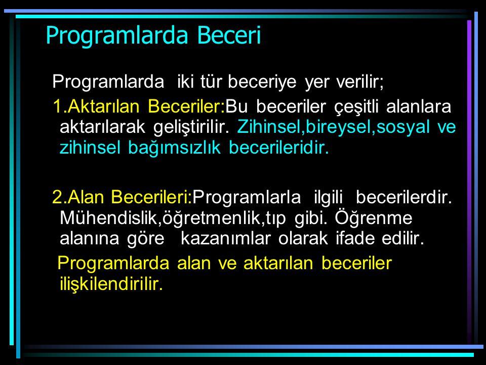 Programlarda Beceri Programlarda iki tür beceriye yer verilir;