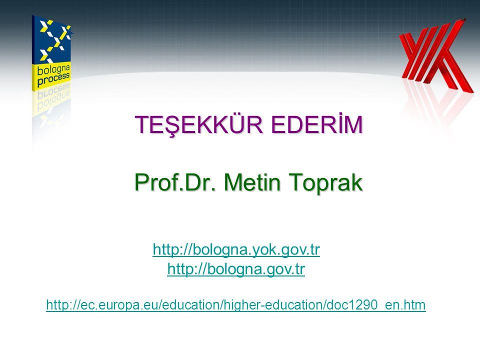 TEŞEKKÜR EDERİM Prof.Dr. Metin Toprak