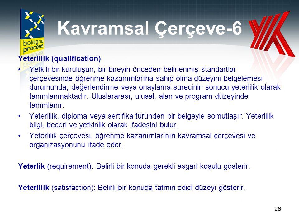 Kavramsal Çerçeve-6 Yeterlilik (qualification)