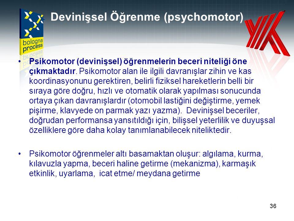 Devinişsel Öğrenme (psychomotor)