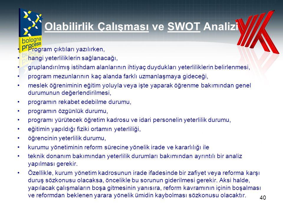 Olabilirlik Çalışması ve SWOT Analizi