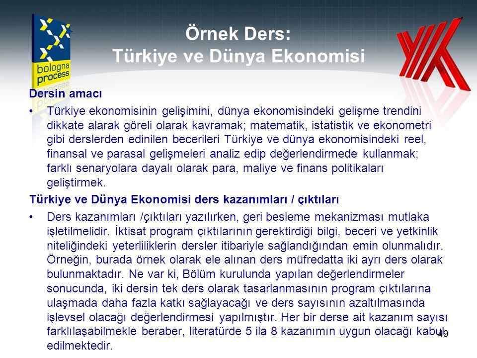 Örnek Ders: Türkiye ve Dünya Ekonomisi
