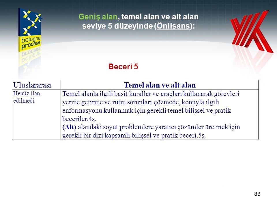 Geniş alan, temel alan ve alt alan seviye 5 düzeyinde (Önlisans):