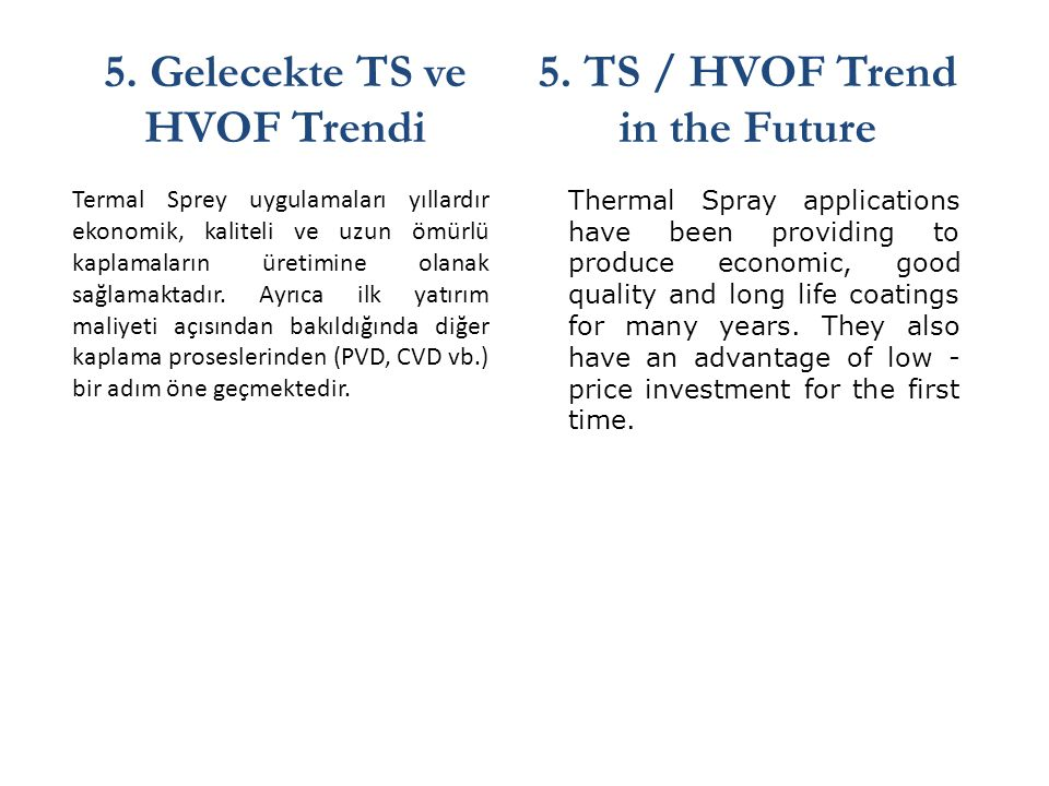 5. Gelecekte TS ve HVOF Trendi 5. TS / HVOF Trend in the Future
