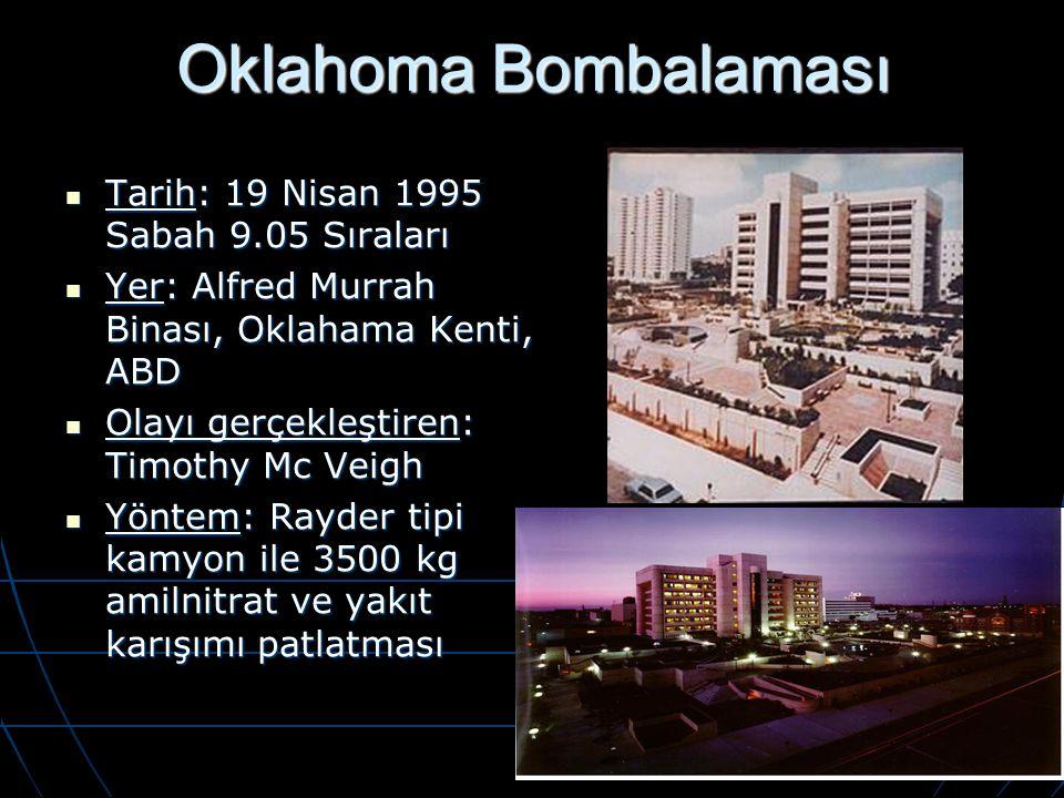 Oklahoma Bombalaması Tarih: 19 Nisan 1995 Sabah 9.05 Sıraları