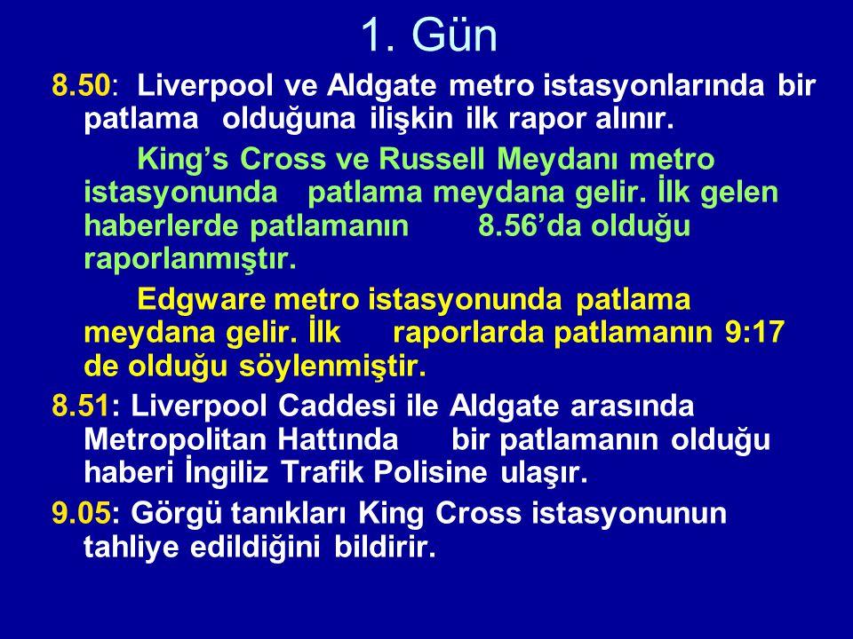 1. Gün 8.50: Liverpool ve Aldgate metro istasyonlarında bir patlama olduğuna ilişkin ilk rapor alınır.