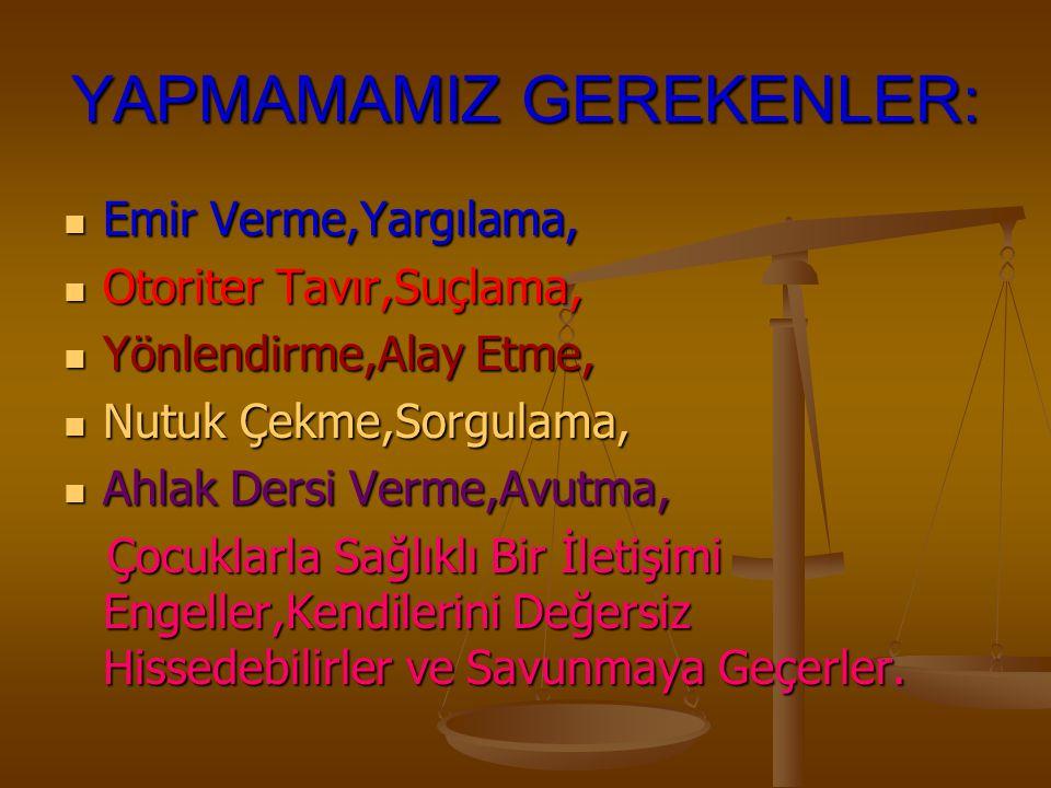 YAPMAMAMIZ GEREKENLER: