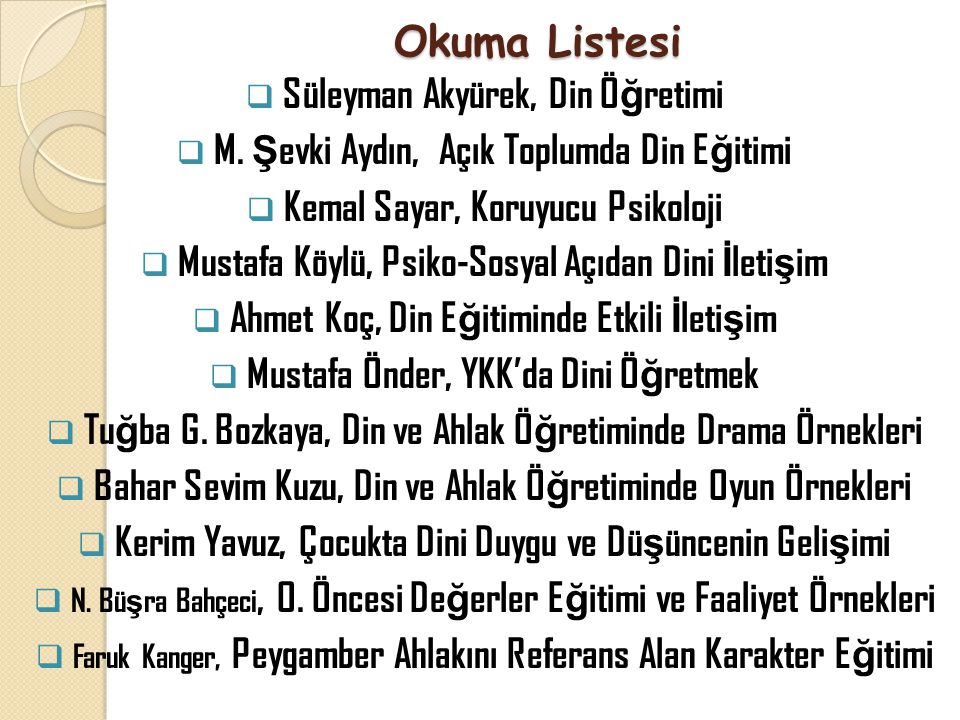 Okuma Listesi Süleyman Akyürek, Din Öğretimi