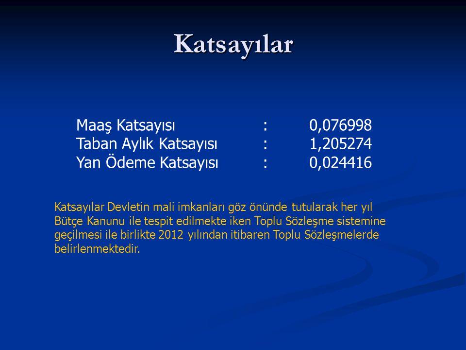 Katsayılar Maaş Katsayısı : 0,076998 Taban Aylık Katsayısı : 1,205274
