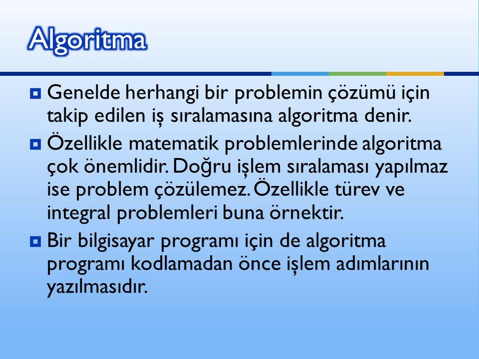 Algoritma Genelde herhangi bir problemin çözümü için takip edilen iş sıralamasına algoritma denir.