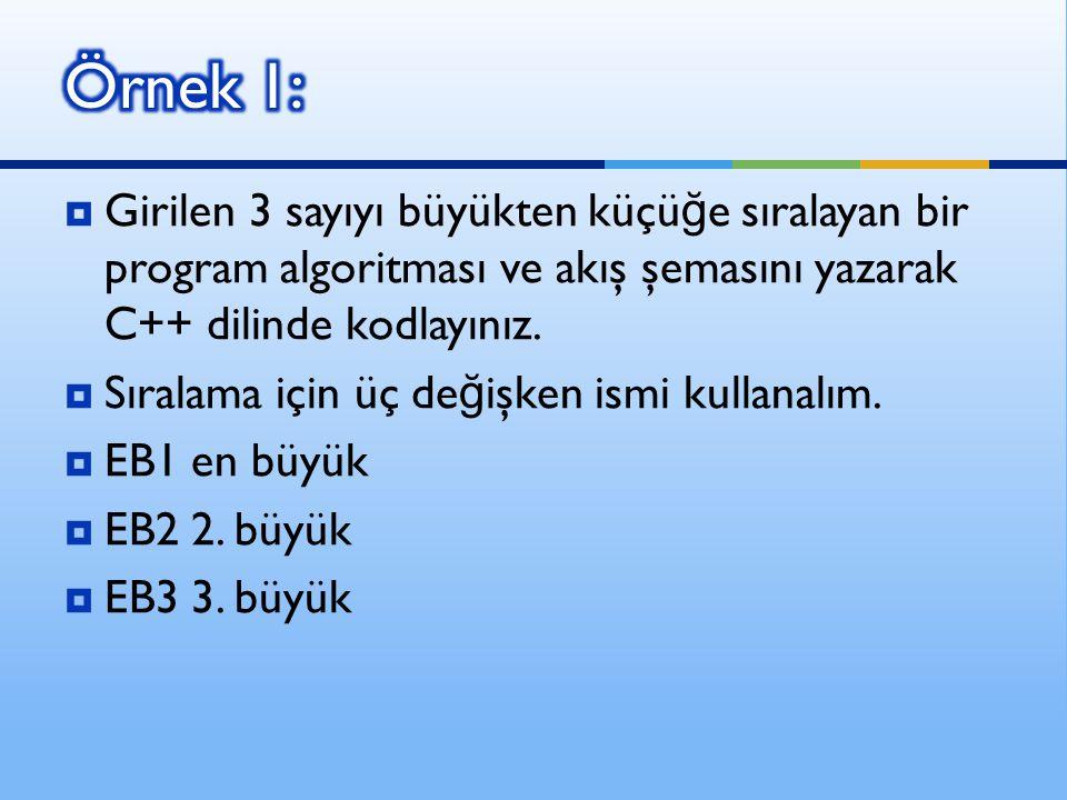 Örnek 1: Girilen 3 sayıyı büyükten küçüğe sıralayan bir program algoritması ve akış şemasını yazarak C++ dilinde kodlayınız.