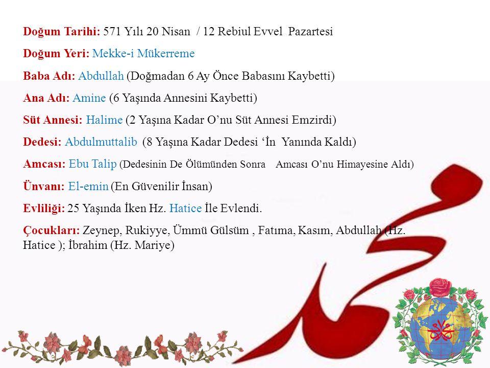 Doğum Tarihi: 571 Yılı 20 Nisan / 12 Rebiul Evvel Pazartesi