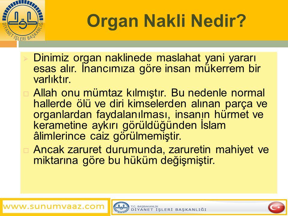 Organ Nakli Nedir Dinimiz organ naklinede maslahat yani yararı esas alır. İnancımıza göre insan mükerrem bir varlıktır.