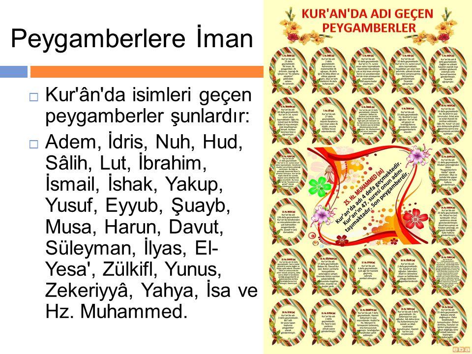 Peygamberlere İman Kur ân da isimleri geçen peygamberler şunlardır: