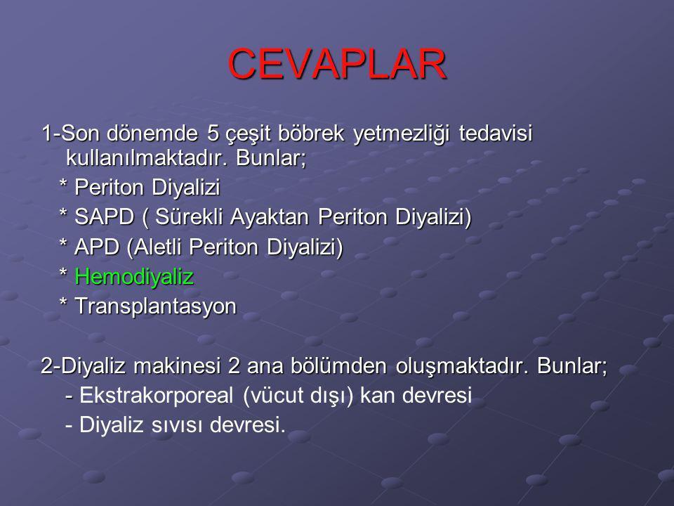 CEVAPLAR 1-Son dönemde 5 çeşit böbrek yetmezliği tedavisi kullanılmaktadır. Bunlar; * Periton Diyalizi.