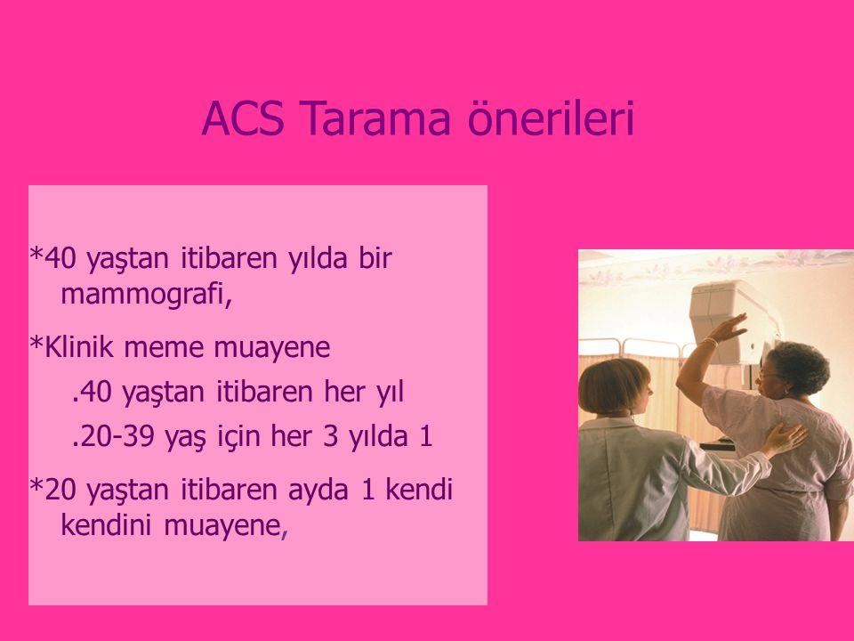 ACS Tarama önerileri *40 yaştan itibaren yılda bir mammografi,