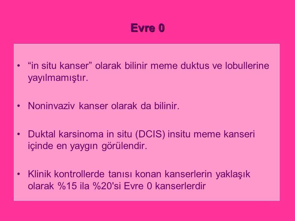 Evre 0 in situ kanser olarak bilinir meme duktus ve lobullerine yayılmamıştır. Noninvaziv kanser olarak da bilinir.