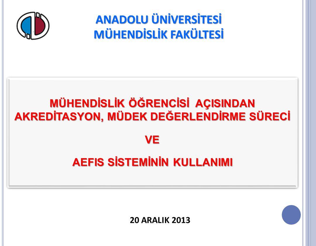 MÜHENDİSLİK FAKÜLTESİ AEFIS SİSTEMİNİN KULLANIMI