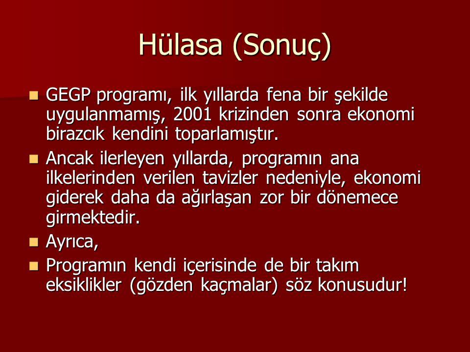 Hülasa (Sonuç) GEGP programı, ilk yıllarda fena bir şekilde uygulanmamış, 2001 krizinden sonra ekonomi birazcık kendini toparlamıştır.