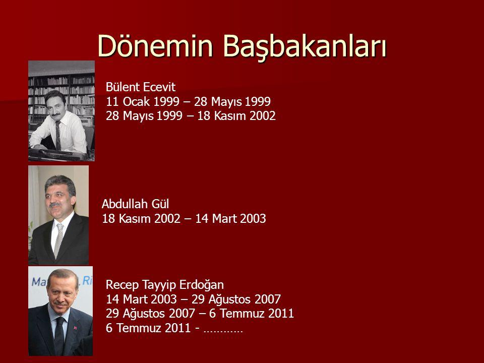 Dönemin Başbakanları Bülent Ecevit 11 Ocak 1999 – 28 Mayıs 1999