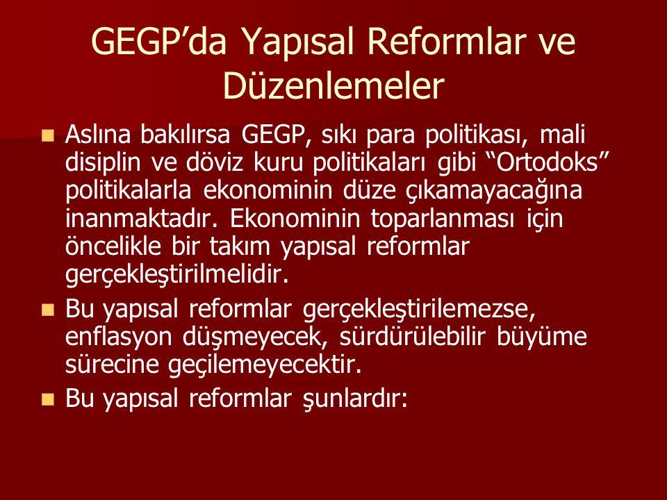 GEGP'da Yapısal Reformlar ve Düzenlemeler