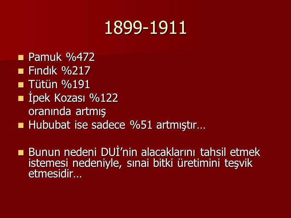 1899-1911 Pamuk %472 Fındık %217 Tütün %191 İpek Kozası %122