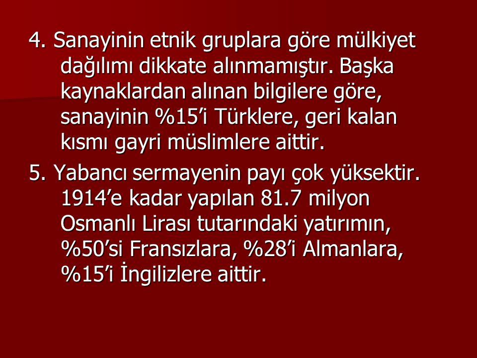 4. Sanayinin etnik gruplara göre mülkiyet dağılımı dikkate alınmamıştır. Başka kaynaklardan alınan bilgilere göre, sanayinin %15'i Türklere, geri kalan kısmı gayri müslimlere aittir.