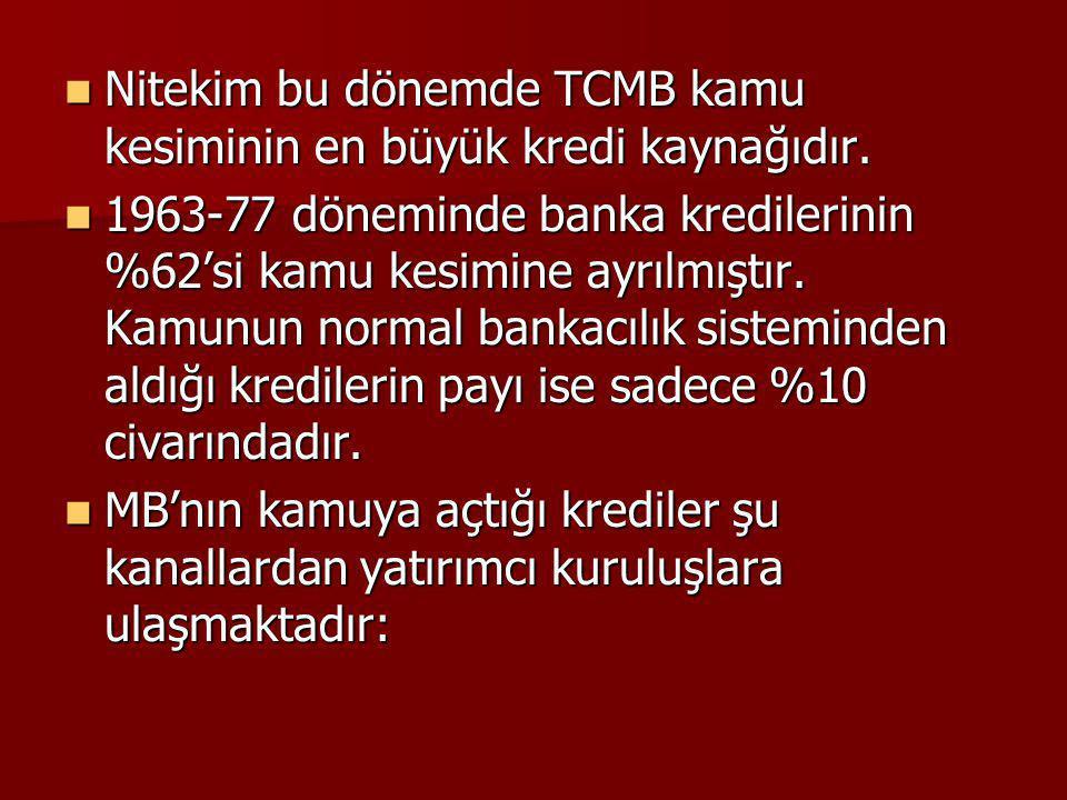 Nitekim bu dönemde TCMB kamu kesiminin en büyük kredi kaynağıdır.