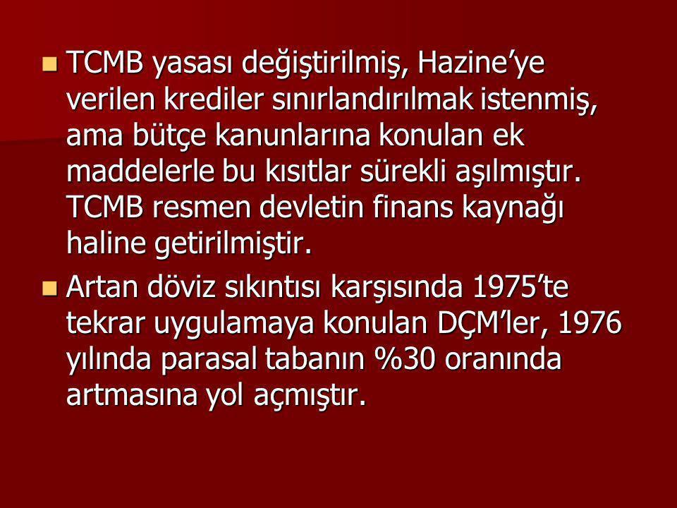 TCMB yasası değiştirilmiş, Hazine'ye verilen krediler sınırlandırılmak istenmiş, ama bütçe kanunlarına konulan ek maddelerle bu kısıtlar sürekli aşılmıştır. TCMB resmen devletin finans kaynağı haline getirilmiştir.