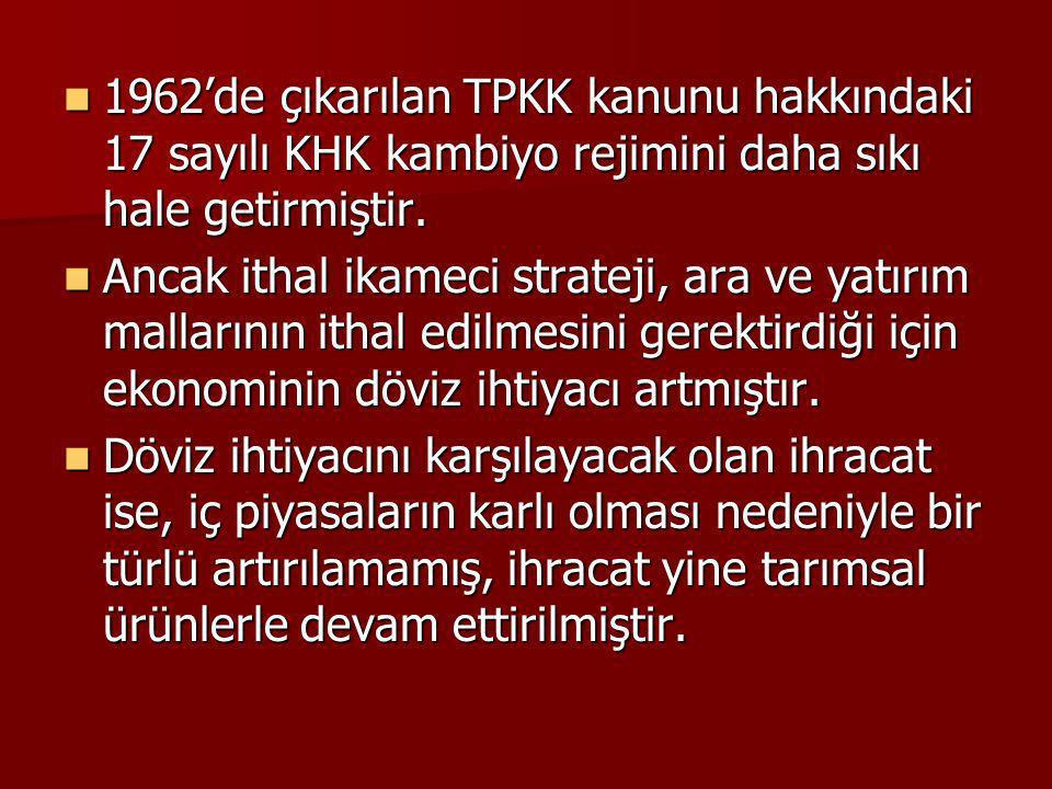 1962'de çıkarılan TPKK kanunu hakkındaki 17 sayılı KHK kambiyo rejimini daha sıkı hale getirmiştir.