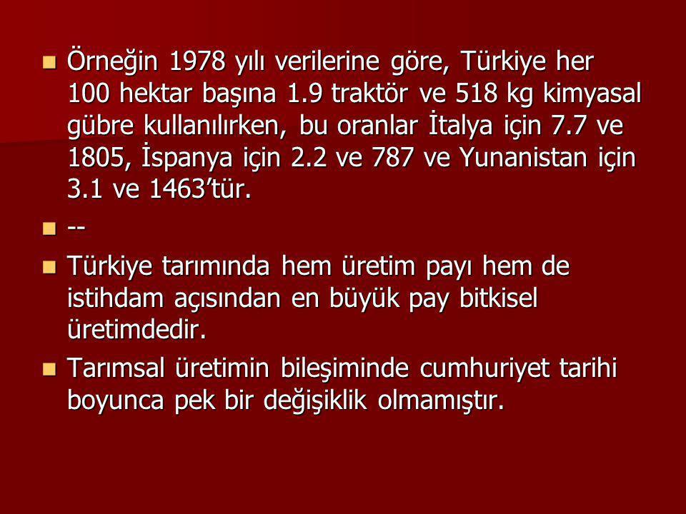 Örneğin 1978 yılı verilerine göre, Türkiye her 100 hektar başına 1